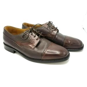Johnston Murphy Mens Cap Toe Brown Leather Shoes